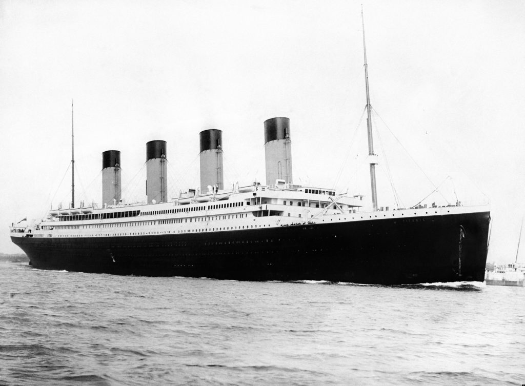R.M.S. Titanic departing Southhampton on April 10, 1912.